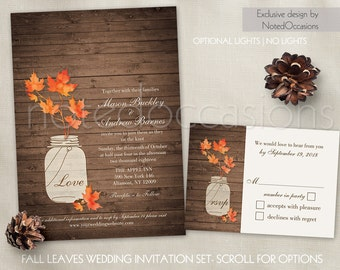 Rustic Fall Wedding Invitation Set | Fall Leaves in Mason Jar Wedding Invite and RSVP Suite Barn Wood Country Wedding DIY digital printable