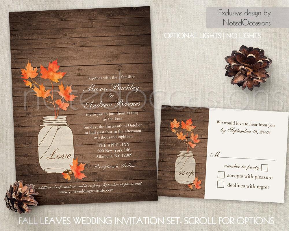 Homemade Fall Wedding Invitations: Rustic Fall Wedding Invitation Set Fall Leaves In Mason Jar