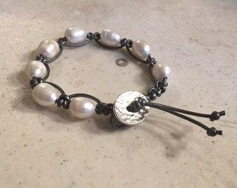 Gray Bracelet - Macrame Jewelry - White Pearl Gemstones - Leather - Fashion - Trendy - Beaded - Silver Button