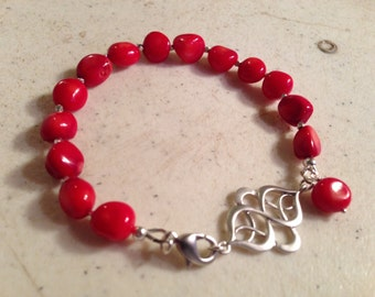 Red Coral Bracelet - Sterling Silver Jewellery - Gemstone Jewelry - Fashion - Trendy