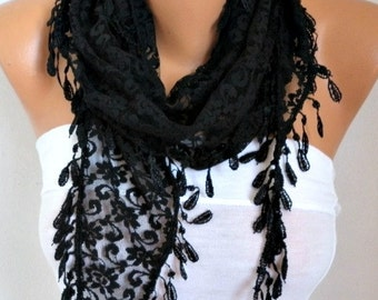 Black Lace Scarf ,Spring Summer Scarf, Shawl Cowl Scarf Bridesmaid Gift Gift Ideas For Her Women's Fashion Accessories