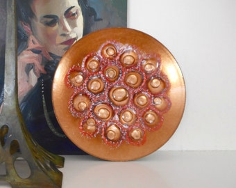 Vintage Enamel on Copper Plate or Tray Mid Century Modern Modernist Home Decor 8 3/8 inch Diameter
