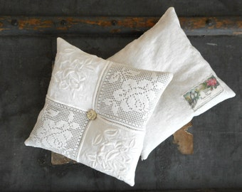 Large Lavender Sachet White Linen and Lace Two Available Scented Pillow Vintage Textiles and Buttons French Chic Cottage Scented Home Decor