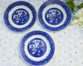 Vintage Grindley~WILLOW Blue~Hotelware~Blue Willow Design Set of 3 Salad Plates