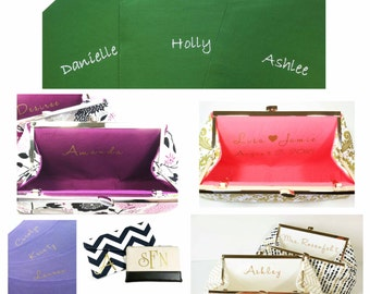 Personalization, Monogram, Inscription, Message - Custom Personalized Label or Colored Monogram Add On For Bridesmaid Clutches