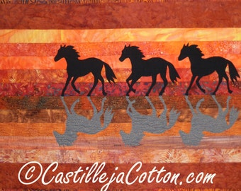Horses at Sunset wall Quilt, 5000-0, horse wall hanging, western quilt, horse wall quilt