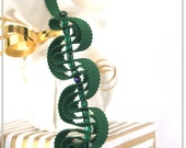 Ribbon necklace in forest green with faceted glass beads
