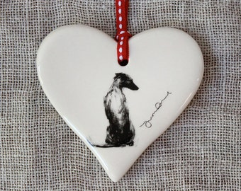 Whippet dog gift, hanging whippet heart, whippet decoration, whippet ornament, gift whippet lover