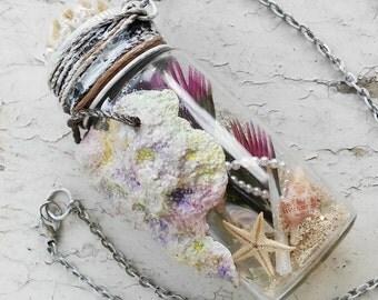 Starfish Necklace, Seaside Pendant, Underwater, Summer, Beach, Mermaid Necklace, Seashells, Aqua