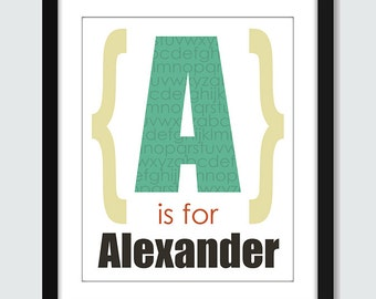 N is for Name ABC Alphabet Personalized Wall Art. Alphabet Name Wall Print. Custom Name Print. 8x10 Baby Children Wall Print Poster