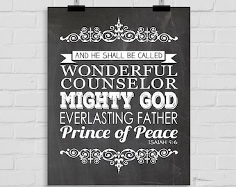 Wonderful Counselor, Mighty God, Everlasting Father, Prince of Peace Wall Print, INSTANT DOWNLOAD, Isaiah 9:6 Inspirational Wall Print