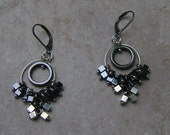Hematite Layered Circle Beaded Squared Cluster Silver Charm Hoop Earrings