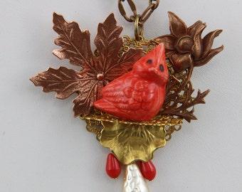 Handmade Fall Cardinal Baby Bird In Leaves Necklace Oscarcrow