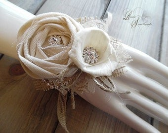 Ships in 5 days ~~~ Rustic Wrist Corsage, Sola Flower, Cotton Rose, Rhinestones, Burlap, Lace, Jute.
