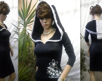 unusual and elegant ladies dress with a hood made of black