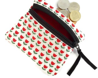 Tulip flower coin change purse, zipped card pouch