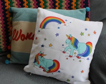 Blue unicorn cushion cover scatter cushion