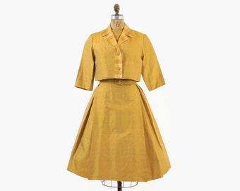 Vintage 60s Silk DRESS Set / 1960s Mustard Gold Raw Silk Sleeveless Dress & Plaid Bolero Jacket Set with Belt M