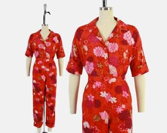 Vintage 60s Hawaiian Pant Suit / 1960s Tropical Floral Shirt Top & High Waist Pants Set M