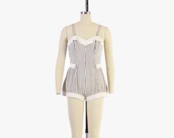 Vintage 50s Jantzen SWIMSUIT / 1950s Off White & Brown Windowpane Plaid PLAY SUIT M