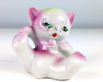 Kitty Cat Glass Animal Figurine, Glass Cat, Made in Japan, Ceramic Collectible, Cat Collector