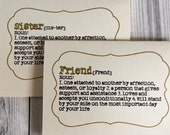 Will you be my Bridesmaid Friend or Sister Definition Card