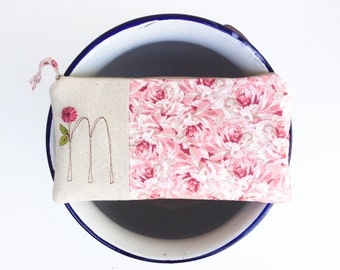 Monogrammed Gifts, Embroidered Monogram Clutch, Rose Quartz Zipper Pouch, Personalized Gifts for Women, Gift under 50 Letter M READY TO SHIP