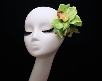 Triple Tropical Cymbidium Orchid Hair Flower Clip -Wedding / Pinup / Rockabilly Hair Accessory