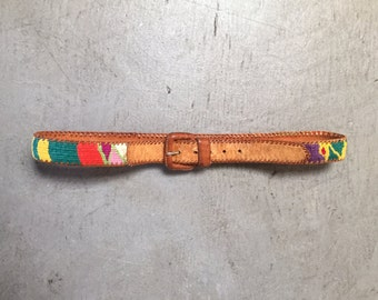 Multi Stripe Leather Belt