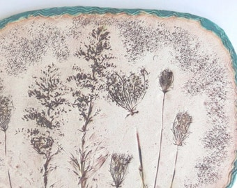 Botanical Imprint Ceramic Wall Hanging Rustic Clay Wall Art Wildflower Pottery Home Decor Organic Decorative Accent