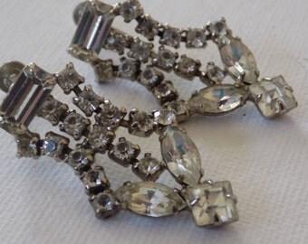 Vintage earrings, signed Dafri 1950's Art Deco style crystal dangle screw back earrings, bridal earrings, vintage jewelry