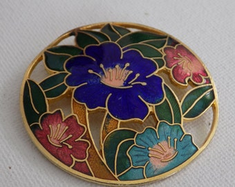 Vintage brooch, cobalt blue,rose,aqua, and green enamel floral brooch,flowers pin, jewelry