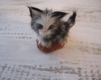 Genuine fur tiny kitty cat black and white striped glass eyes