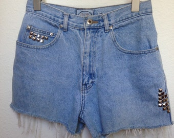 Studded denim shorts | Etsy