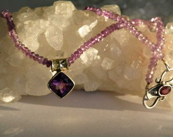 Short Amethyst gemstone necklace - Sterling Silver- faceted beads - purple stone jewelry
