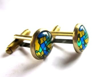 Stained Glass Window Pattern Cufflinks Blue Green Yellow Jewelry for Men