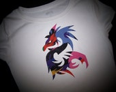 """Dragon Iron on Applique 7"""" Tall Cut from a Rainbow of Colors - Fabric Iron on Dragon Patch, Easy Craft for a shirt or Tote"""