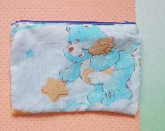 Care Bears upcycled vintage style zipper top pencil or cosmetic bag goodnight bear