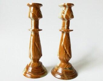 "Carved Marble Onyx Candlesticks, 8"" Vintage Pair"