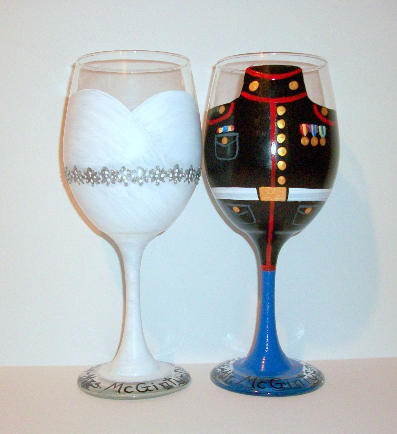 Hand Painted Wine Glasses Bride And Groom Wedding Dress And
