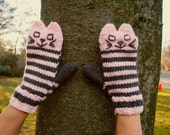 Knit Cat Mittens Striped Mitts Pale Pink and Grey - Handmade Knitted Cat Mitts - Knit Easter Gift Winter Mittens for Cat Lover Vegan Mittens