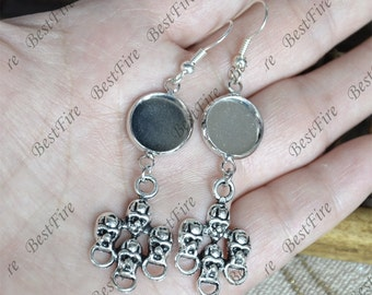 6pcs Unique new style platina tone Earwires Hook With Round Cabochon Pad,skull Beautiful Detail, Earrings hook,earring finding base
