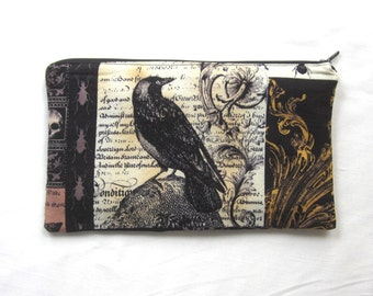 Raven and Owl Fabric Zipper Pouch / Pencil Case / Make Up Bag / Gadget Pouch