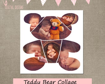 Teddy Bear Collage Cake Smash template Cake Smash Storyboard 20x20 square CS & Elements first 1st birthday collage newborn  INSTANT DOWNLOAD