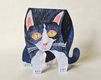 Tuxedo Cat Animated Greeting Card / Paper Craft Toy