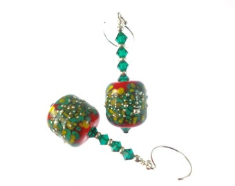 Lampwork Earrings, Glass Bead Earrings, Unique Earrings, Green Red Earrings, Statement Earrings, Lampwork  Jewelry, Glass Bead Jewelry