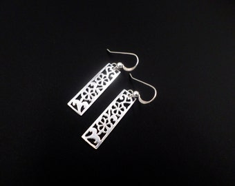 Sterling Silver Earrings, Silver Cut Out Flower Earrings, Dangle Drop Earrings, Flower Jewelry, Sterling Silver Jewelry, Pattern Earrings