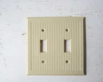 ON SALE Vintage Art Deco Cream Bakelite Double Light Switch Cover - Switch Plate - New Old Stock - Quantities Available - Smoothie