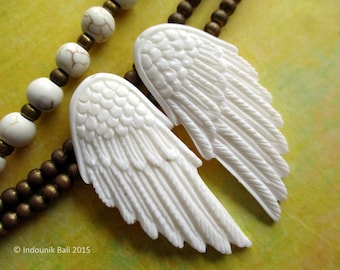 Give Me Wings Mini Carved Bone Pair Drilled Pendant Beads 40mm