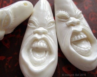 Funny Face No. 2 Carved Bone Pendant Bead 48mm